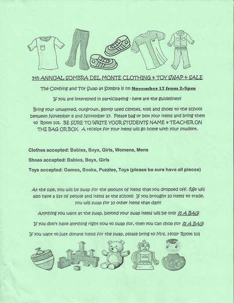 Clothing and Toy Swap Flyer